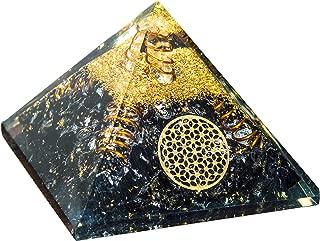 Crocon Black Tourmaline Orgone Pyramid with Flower of Life Symbol for Crystal Energy Generator Reiki Healing Balancing EMF Protection Gemstone Aura Cleansing Spiritual Meditation Decor Size:2.5-3 Inch