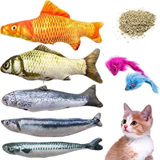 Youngever 7 Cat Toys Assortment with 5 Refillable Catnip Fish Cat Toys and 2 Catnip Fur Mouse Cat Toys, Extra Catnip for R...