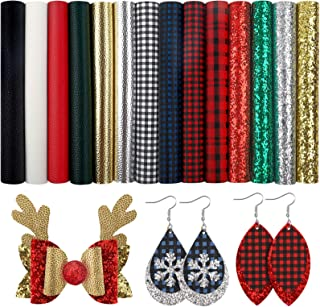 SGHUO 14pcs Christmas Faux Leather Sheets Embossed Fabric Sheets for Making Earrings, Bows, Jewelry, Wallet, and DIY Sewin...