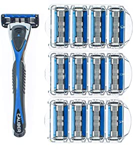 Personna Men's 5 Blade Razor System - Mens Shaving Razors - Razor Handle with 12 Replacement Cartridges