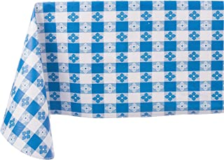 Yourtablecloth Checkered Vinyl Tablecloth with Flannel Backing for Restaurants, Picnics, Bistros, Indoor and Outdoor Dining (Blue and White, 52x52 Square)