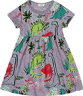 a92d5a05709 Gold treasure Baby Girls Summer Playwear Dresses Kids Nightgown Dress with  Cartoon Dinosaurs