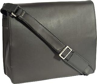 Real Leather Cross Body Bag Shoulder Messenger Style 'LAS VEGAS' Black