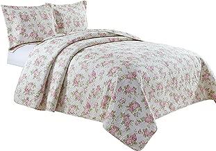 Chezmoi Collection Dakota 3PC 2-in-1 Reversible Pink Rose Vintage Washed 100%-Cotton Quilt Set (King)