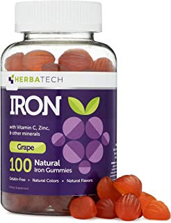 Iron Gummies for Adults and Kids, Chewable Multivitamin Supplement with Iron, Vitamin C, A, B, Zinc, Folic Acid, and Bioti...