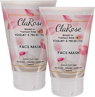 ClaRose Ontgiftend witmakend gezichtsmasker met 100% natuurlijke rozenolie, yoghurt en prebioticum; 2 x 100 ml.