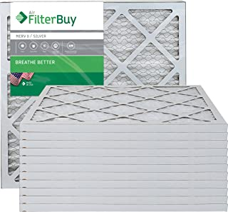 FilterBuy 20x20x1 MERV 8 Pleated AC Furnace Air Filter, (Pack of 12 Filters), 20x20x1 – Silver