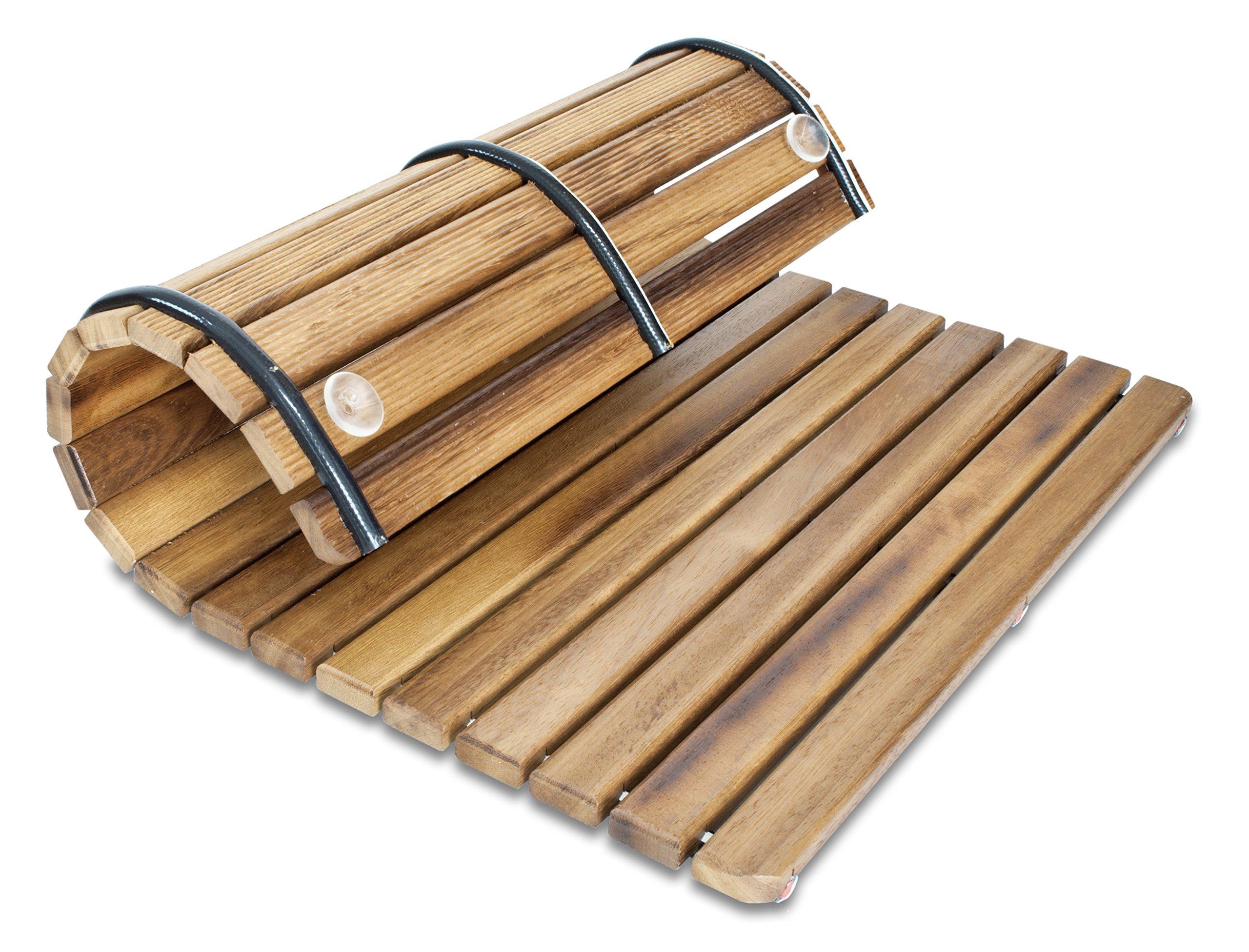 Tarima en madera de teca 60 x 60 cm Alfombrilla FLEXIBLE para ducha y ba/ño