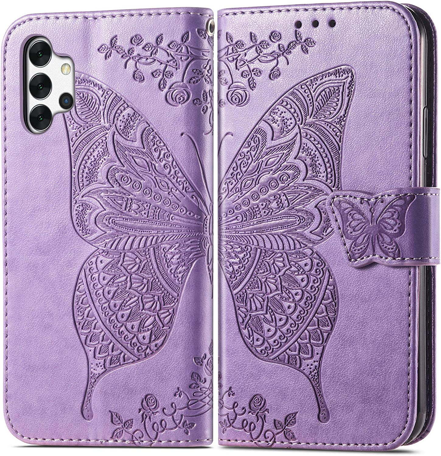 Daole Butterfly Wallet Case for Samsung Galaxy S21 5G 2021 Case Women Violet, Patterned PU Leather Magnetic Flip Case for Samsung Galaxy S21 with Card Holder & Kickstand