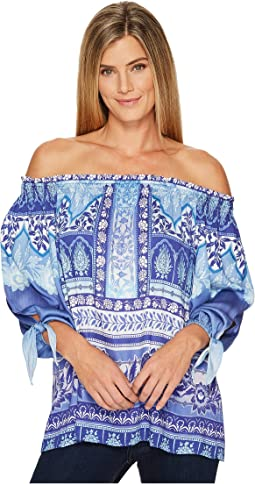 Hale Bob - Precious Cargo Stretch Satin Woven Off Shoulder Top