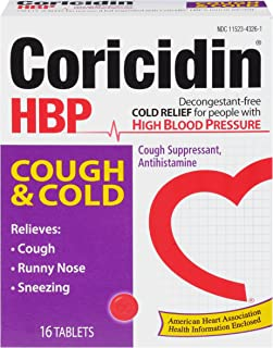 Coricidin HBP Antihistamine Cough & Cold Suppressant Tablets for People with High Blood Pressure, 16-Count Boxes (Pack of 3)
