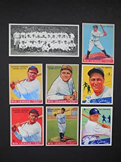 Babe Ruth, Lou Gehrig (8) Card Baseball Reprint Lot including 1927 Yankees Team Photo (Yankees)