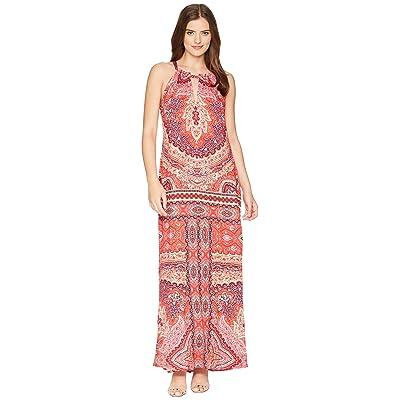 Hale Bob Modern Mosaic Stretch Satin Maxi Dress (Red) Women
