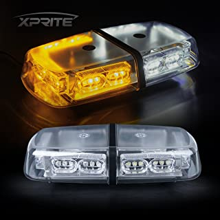 Xprite Gen 3 White & Amber Yellow 36 LED 18 Watts High Intensity Law Enforcement Emergency Hazard Warning Flash LED Mini Bar Strobe Light with Magnetic Base