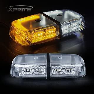 Xprite Gen 3 White & Amber Yellow 36 LED 18 Watts High Intensity Law Enforcement Emergency Hazard Warning Flash LED Mini Bar Strobe Light with Magnetic Base