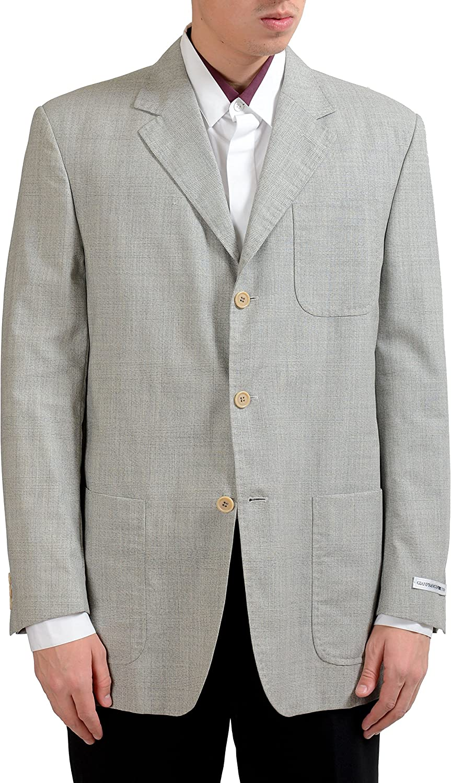 Gianfranco Ferre Studio Men's Plaid 100% Wool Blazer Sport Coat US 42 IT 52 Gray