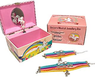 Kids Unicorn Musical Jewellery Box Girls Gift Plus Mum and Daughter Bracelet Set, 3 Rainbow Unicorn Gifts For Girls, Daughter, Best Friend, Sister, Niece Or Granddaughter, Music Box Plays Over The Rainbow - LW KIDS Creations
