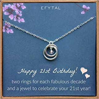 EFYTAL 21st Birthday Gifts for Her, Sterling Silver 21 Year Old Necklace Gift for Women, Best Friend or Daughter