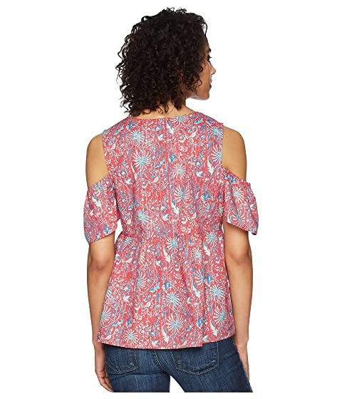 Lucky Brand Printed Cold Shoulder Top Red Multi Original Looking For Sale Online Outlet Real Largest Supplier Buy Cheap Low Price 7hKbR