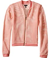 IKKS - Mesh Letterman-Style Jacket with Sequined K Patch on Chest & Zipper Front (Little Kids/Big Kids)