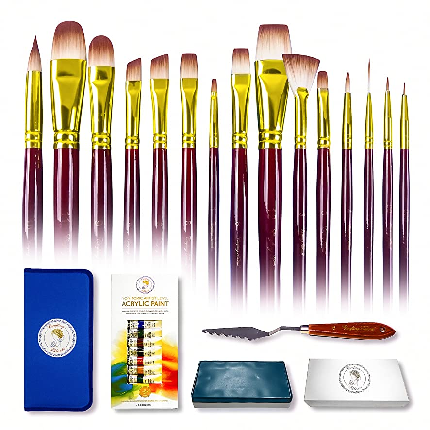 Paint Brush Gift Set 15pcs for Watercolor, Acrylic & Oil Paint -Acrylic Paint Set-Paint Palette with Lid-Special Effect Painting Knife- Paintbrushes Gift for Artist Kids, Beginners & Professionals