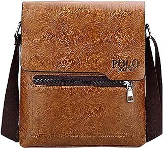 Polo Shoulder Bag Business Man Bag Messenger Bag for Men Crossbody Bag(khaki)