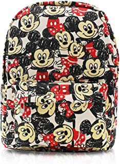 Finex White Mickey and Minnie Mouse Canvas Backpack with Laptop storage compartment for School College Daypack Causal Trav...