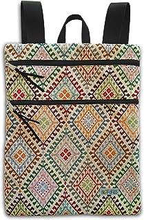 Mochila plana de tela tapicería motivos étnicos