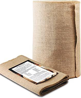 Burlap Table Runner - 14 Inch Wide x 50 Yards Long. No-Fray with Finished Edges. Burlap Fabric Roll Perfect for Weddings, Tab