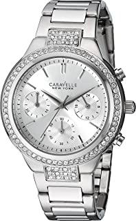 Caravelle New York Silver Boyfriend Women's Quartz Watch with Silver Dial Chronograph Display and Silver Stainless Steel B...