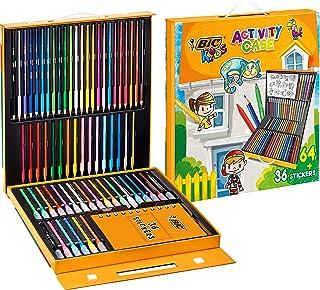 BIC Kids Mallette de Coloriage - 24 Crayons de Couleurs/24 Feutres/16 Craies et 36 Stickers à Colorier