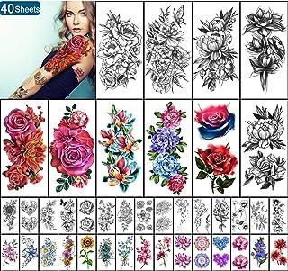 Yazhiji 40 vellen Waterdichte Tijdelijke Tattoos Grote Bloemen Collectie Blijvende Fake Tattoo Stickers voor Vrouwen of Me...