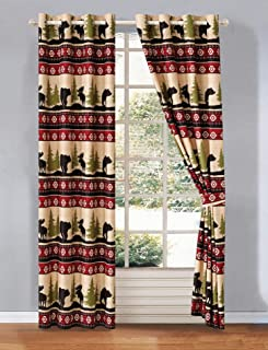 Western Southwestern Grommet Curtain Set with Native American Designs With Grizzly Bears and Moose Roaming the Great American Outdoors Pine Forest Imagery (2 Panels - 54x84