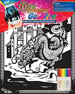 New Generation Go Alive - Dragon Coloring Velvet Art Posters 2-Pack Set of 11x15 Inch Color in Posters | 8 Super Tip Washable Markers Included | Dragons Value Pack Fuzzy Posters Great Gifting idea