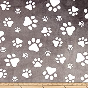 Shannon Fabrics Minky Cuddle Paws Fabric by The Yard, Graphite/Snow