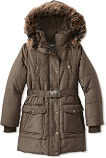 Fleet Street Long Heavy Girls Puffer Jacket with Removable Hood for Winter