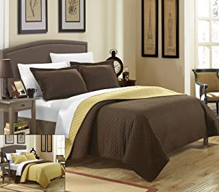 Chic Home 2 Piece Teresa Reversible Color Block Modern Quilt Set, Twin, Gold