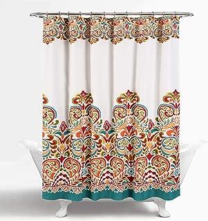 "Lush Decor Clara Shower Curtain - Fabric Colorful Boho Paisley Damask Print Design, 72"" x 72"", Turquoise and Tangerine"