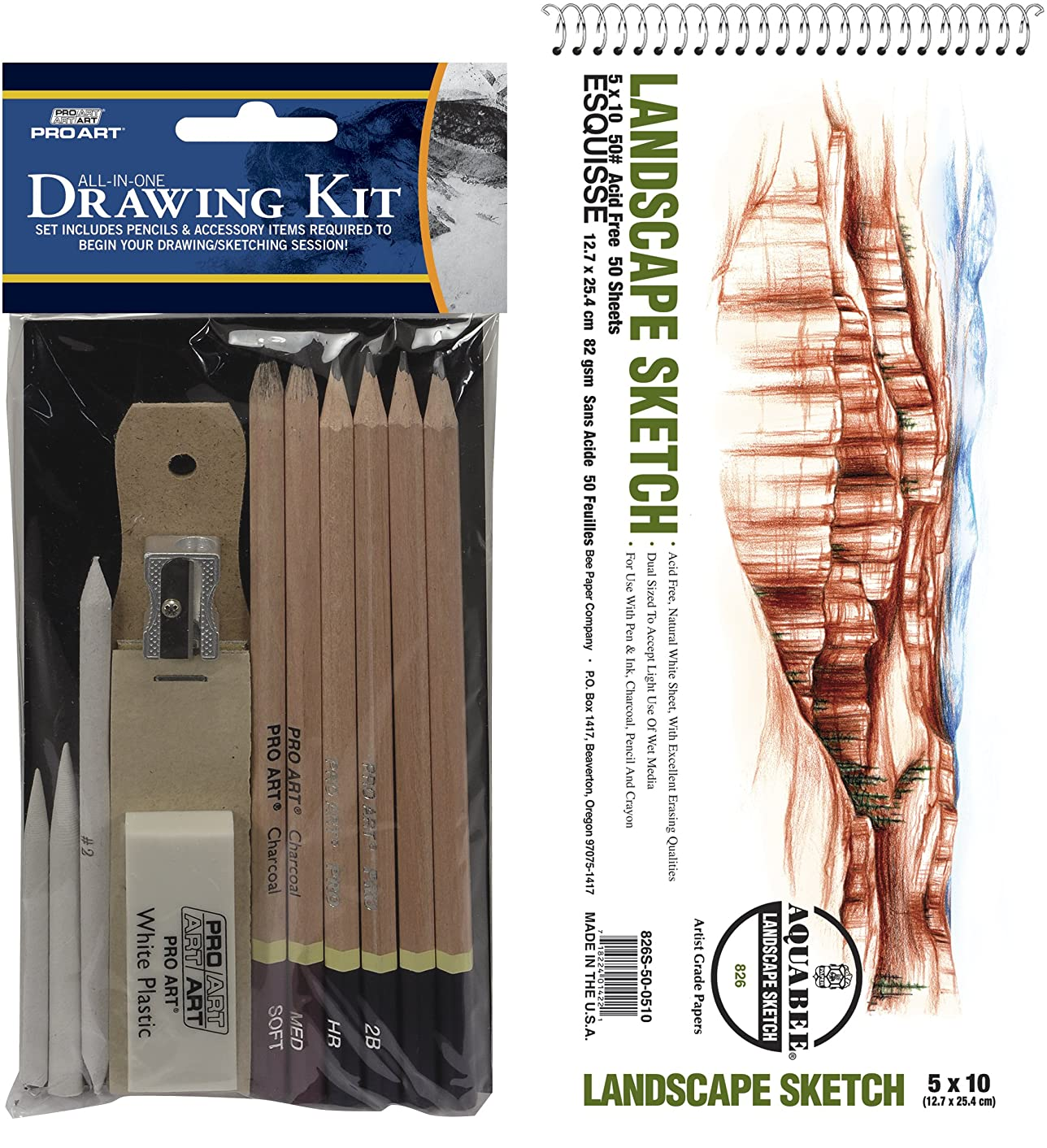 Pro Art PRO-3049BEE 5-Inch by 10-Inch Sketch All in One Value Pack