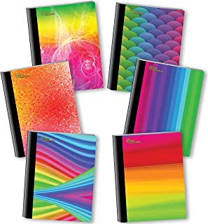 NEW GENERATION – Rainbow - Fashion Composition Notebooks, 6 Pack Note Books -Journals, 80 Sheets / 160 Pages Wide Ruled White Paper Durable Laminated Covers with Assorted Eye-Catching Cute Designs