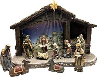 Christmas 11 Piece Indoor Light up Complete Nativity Set Includes a 8 inch Light up Stable Real Life 3 inch Figures (Holy Family, Three Wise Men, Angel, Animals and Shepard)
