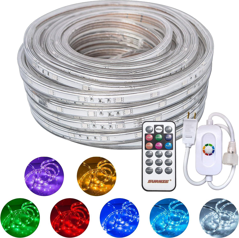 SURNIE Led Rope Lights 50ft Waterproof Co San Antonio Mall Strip 110V Light Popular products RGB