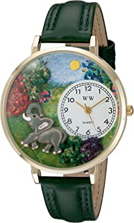 Whimsical Watches Unisex G0150018 Elephant Hunter Green Leather Watch