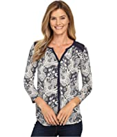 Lucky Brand - Printed Woven Mix Top