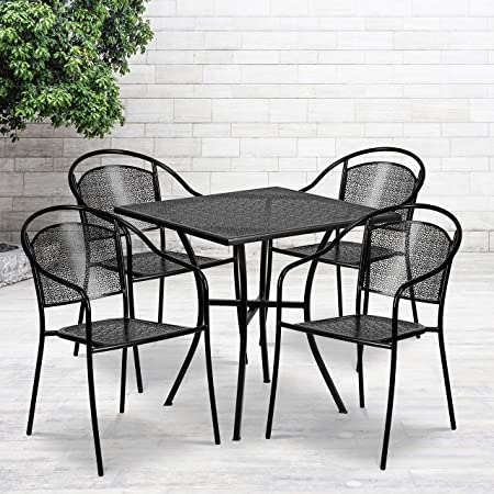 """Flash Furniture Commercial Grade 28"""" Square Black Indoor-Outdoor Steel Patio Table Set with 4 Round Back Chairs"""
