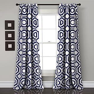 Lush Decor Décor Octagon Blocks Room Darkening Window Curtain Panel Pair, 0, Navy