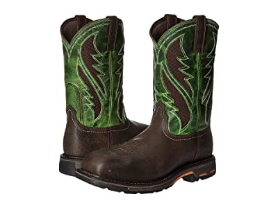 Ariat Workhog Wide Square Toe Venttek Composite Toe (Bruin Brown/Grass Green) Men