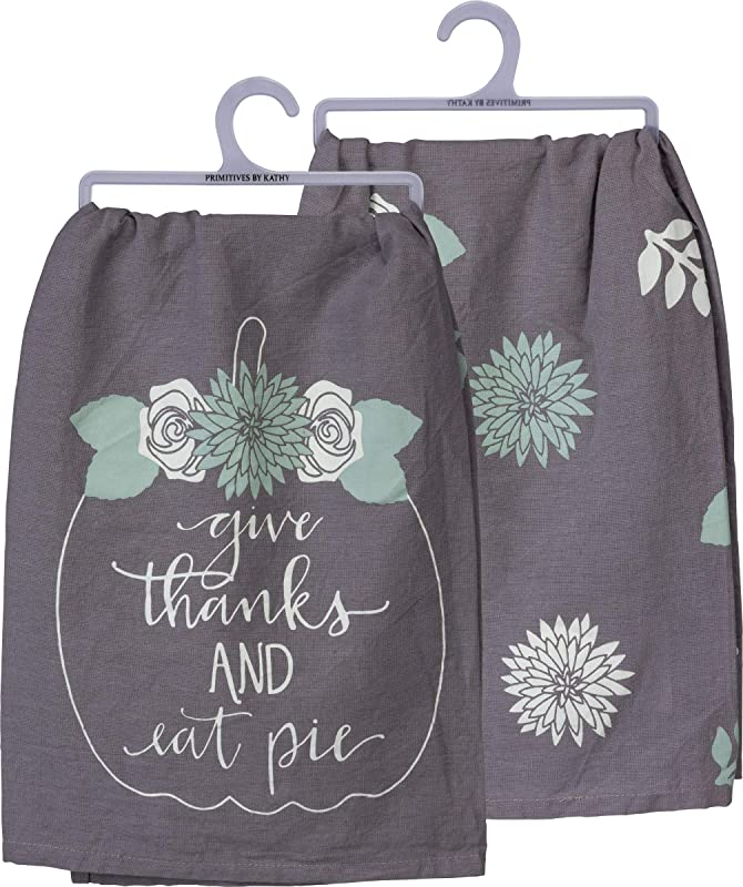 Primitives By Kathy Give Thanks And Eat Pie Holiday Dish Towel