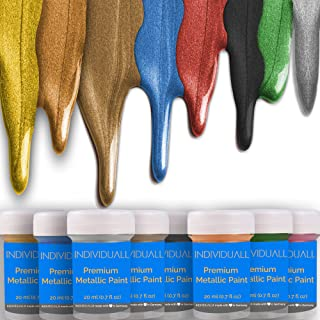 Premium Metallic Acrylic Paint Set by individuall 8 Professional Grade Metallic Paints..