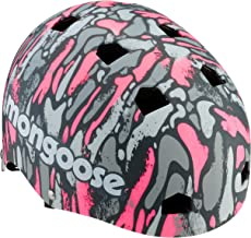 Mongoose Youth Logo Camo Grit Helmet, Pink/grey